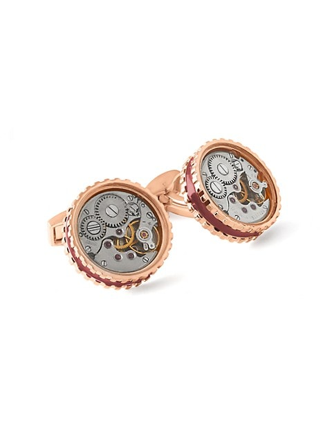 Skeleton Gear Round Pink Goldplated Cuff Links