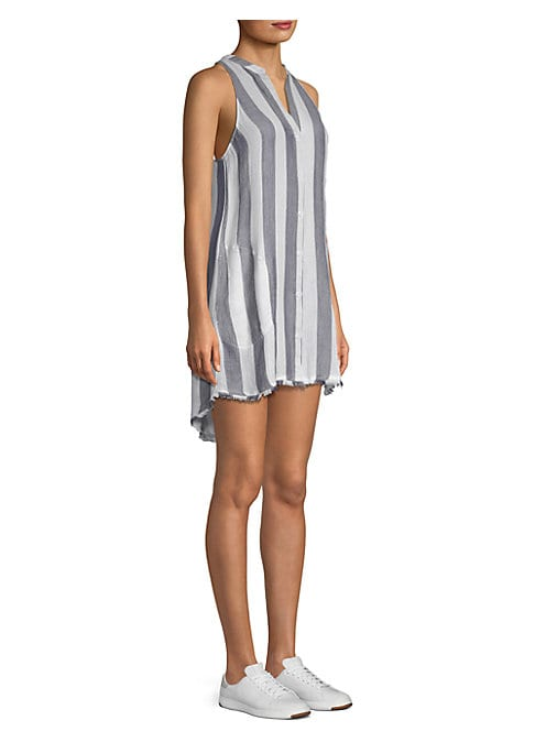 """Image of Breezy striped dress finished with a frayed hi-lo hemline. Split neckline. Sleeveless. Button front. About 34.5"""" from shoulder to hem. Rayon/tencel. Machine wash. Imported. Model shown is 5'10"""" (177cm) wearing US size Small."""