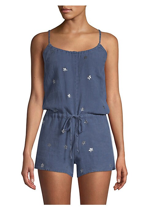 """Image of Breezy romper in lightweight linen. Scoopneck. Sleeveless. Self-tie waist. Tie closure at back with keyhole cutout. About 30"""" from shoulder to hem. Inseam, about 2.5"""".Leg opening, about 23"""".Linen. Machine wash. Imported. Model shown is 5'10"""" (177cm) weari"""