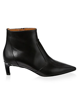 "Image of Classic leather boots with a subtle kitten heel Self-covered kitten heel, 1.9"" (50mm) Leather upper Point toe Side zip closure Leather lining Leather and rubber sole Made in Italy. Women's Shoes - Cold Weather. Aquatalia. Color: Black. Size: 6."