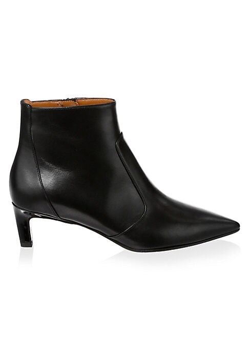 "Image of Classic leather boots with a subtle kitten heel. Self-covered kitten heel, 1.9"" (50mm).Leather upper. Point toe. Side zip closure. Leather lining. Leather and rubber sole. Made in Italy."