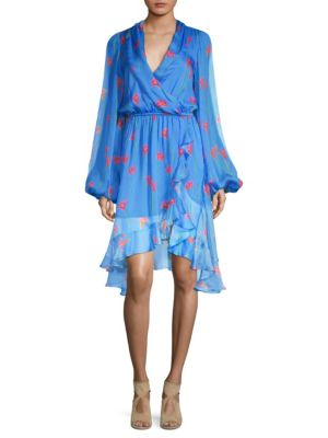 CAROLINE CONSTAS Olivia Floral-Print Silk Ruffle Open-Back Dress in Blue