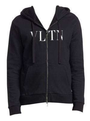 Black Zip Hoodie Sweater With Vltn Print