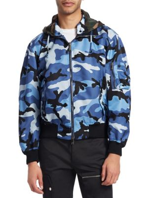 Men'S Oversized Camo-Print Bomber Jacket With Removable Hood, Blue Camo