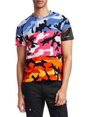 VALENTINO Camoushaffle Multicoloured Cotton T-Shirt, Multi Camo