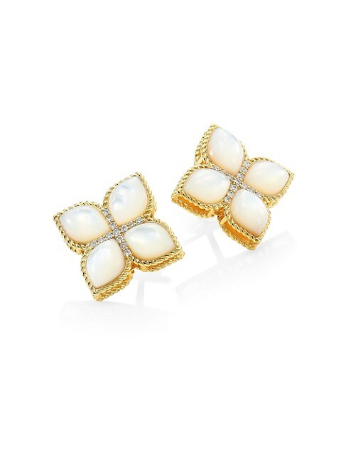 Venetian Princess 18K Yellow Gold, Mother-of-Pearl & Diamond Stud Earrings