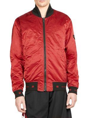 Crinkle Bomber Jacket in Red