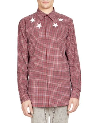 Checked Star-Print Regular-Fit Cotton Shirt, Dark Red