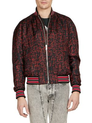 Men'S Signature Print Silk Bomber Jacket, Black Red