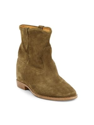 Crisi Velvet Ankle Boots in Brown