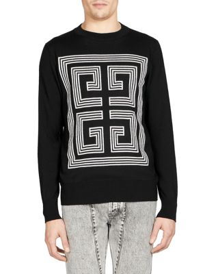 Black Wool Knit With Intarsia White Logo