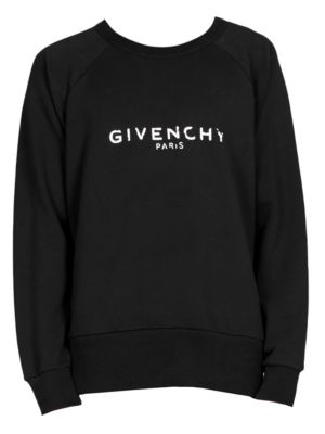 GIVENCHY Men'S Distressed Logo Crewneck Sweatshirt, Black