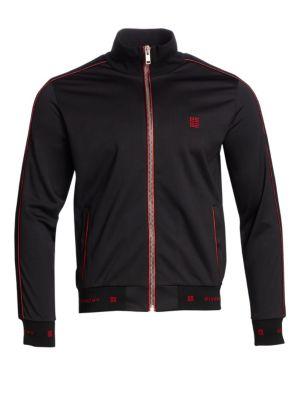 Men'S 4G Logo Track Jacket With Velvet Piping, Black