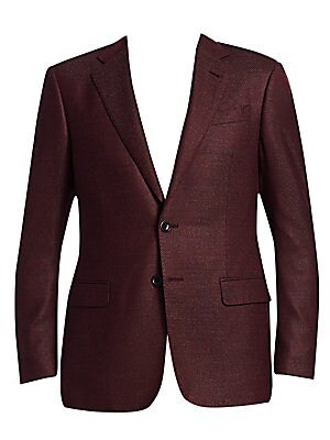 """Image of From the Saks IT LIST THE JACKET The wear everywhere layer that instantly dresses you up. A micro check weave sets this tailored sport jacket apart Notched lapel Chest welt pocket Waist flap pockets Button front closure About 30"""" from shoulder to hem Visc"""