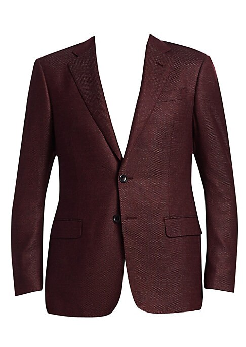 """Image of From the Saks IT LIST. THE JACKET. The wear everywhere layer that instantly dresses you up.A micro check weave sets this tailored sport jacket apart. Notched lapel. Chest welt pocket. Waist flap pockets. Button front closure. About 30"""" from shoulder to he"""