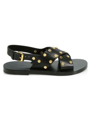 Jane Stud-Embellished Leather Sandals in Black