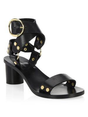 Jeyka Studded Leather Sandals, Black