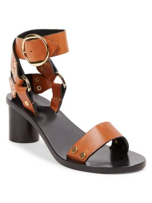 Jeyka Embellished Leather Sandals in 50Co Cognac