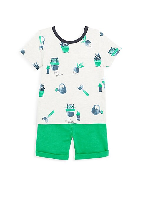 Image of Baby boy set: short-sleeved printed t-shirt in marled jersey, and green Bermuda shorts in slub jersey, which creates a simple look for babies. Cotton. Machine wash. Imported. TEE. Crew neck t-shirt with fresh and fun botanical all-over print. Short sleeve