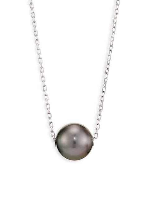 10MM Black Cultured Pearl & 18K White Gold Pendant Necklace