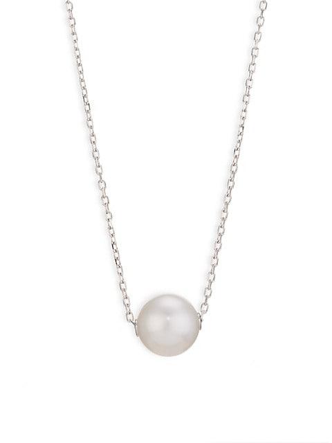 18K White Gold & 10MM Pearl Pendant Neckace