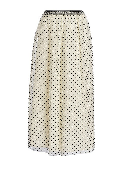 """Image of Sheer maxi skirt enhanced with allover polka dots. Elasticized waist. Pull-on style. Gathered waist. Polyamide/viscose. Dry clean. Imported of French fabric. SIZE & FIT. Maxi length. About 26"""" long. Model shown is 5'10"""" (177cm) wearing US size 4."""
