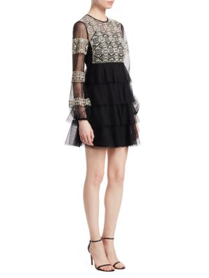 RED VALENTINO Embroidered Point D'Esprit Dress in Black