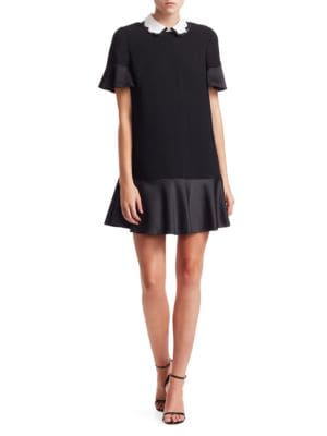 Crepe Envers Satin Drop Waist Dress by Red Valentino