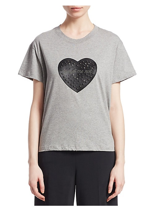 """Image of Boxy cotton tee with embellished heart detail. Banded roundneck. Short sleeves. Pullover style. Distressed cuffs & hem. Cotton. Dry clean. Imported. SIZE & FIT. About 24"""" from shoulder to hem. Model shown is 5'10"""" (177cm) wearing US size Small."""