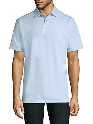 "Image of Casual polo finished with an allover pinstripes Polo collar Short sleeves Three-button placket Split hi-lo hem About 28"" from shoulder to hem Polyester/spandex Machine wash Imported. Men Luxury Coll - Active Lifestyle > Saks Fifth Avenue. Peter Millar. Co"