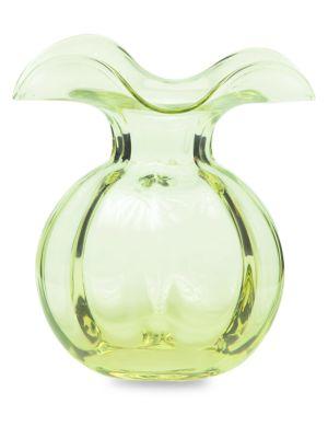 Hibiscus Glass Green Bud Vase