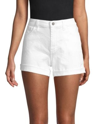 JEN7 BY 7 FOR ALL MANKIND Mid-Rise Roll Denim Shorts, White