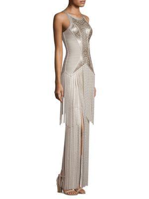 Sleeveless Foil Fringe Bandage Evening Gown W/ Racerback, Moondust