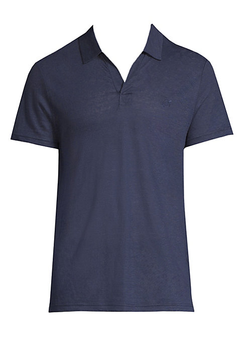 """Image of Easy-to-wear linen polo with embroidered logo detail. Polo collar. Short sleeves. Classic-fit. About 27"""" from shoulder to hem. Linen. Machine wash. Imported."""