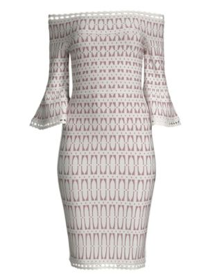 HERVE LEGER Off-The-Shoulder Bell-Sleeve Tiled-Jacquard Body-Con Cocktail Dress in White
