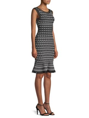 Flutter-Hem Tile-Jacquard Cocktail Sheath Dress, Black Combo