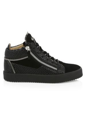 19e53b53cfb Giuseppe Zanotti Suede Mid Top Double Zip Sneakers