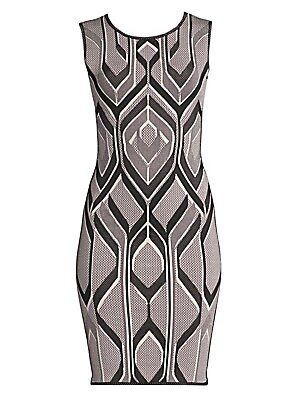 Image of A signature silhouette of the brand, this sheath dress is updated with a flattering geometric print that hugs the contours of your figure. Crafted from thick stretch bandage, it looks great paired with a blazer and ankle-strap heels. Roundneck Sleeveless