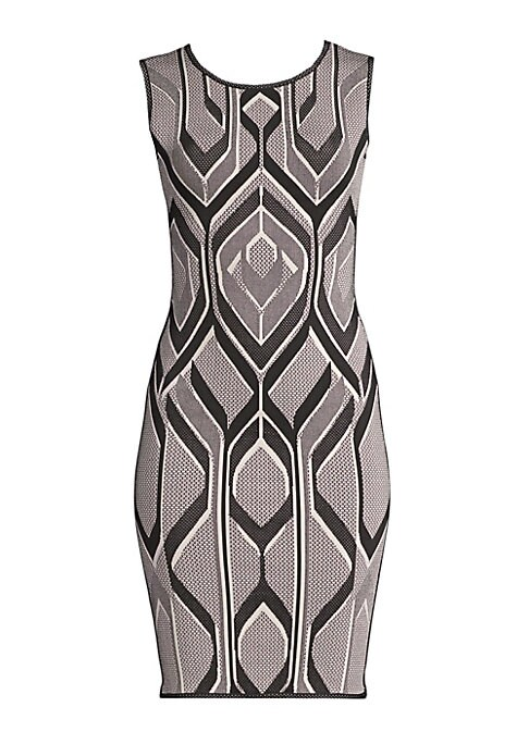 Image of A signature silhouette of the brand, this sheath dress is updated with a flattering geometric print that hugs the contours of your figure. Crafted from thick stretch bandage, it looks great paired with a blazer and ankle-strap heels. Roundneck. Sleeveless