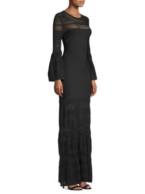 Bell-Sleeve Bandage & Knit Gown, Black