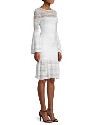 Knit Bell-Sleeve Bandage Dress, Alabaster