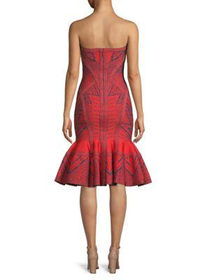 HERVE LEGER Dresses Strapless Jacquard Flounce Cocktail Dress
