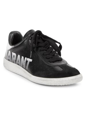 Bryce Suede-Trimmed Leather Trainers, Fr40, Black