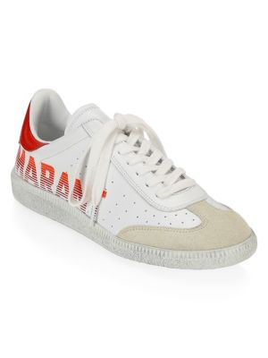 Bryce Logo-Print Suede-Trimmed Leather Sneakers, White/ Red