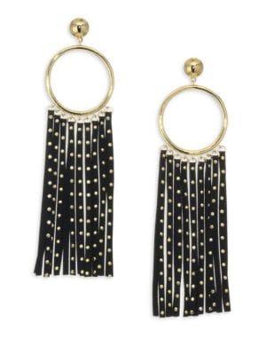 Faux-Leather & 14K Goldplated Fringe Earrings, Black