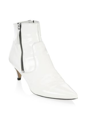 Deby Leather Point-Toe Ankle Boots, White