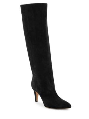 Latsen Suede Knee-High Boots, Black