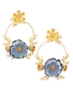 Flower Child Door Knocker Earrings, Blue