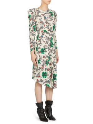 ISABEL MARANT Carley Ruched Sleeve Silk Blend Dress in Multicoloured