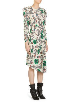 Carley Ruched Sleeve Silk Blend Dress, Ecru